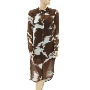 Soft Surroundings Printed Sheer Buttondown Dress M